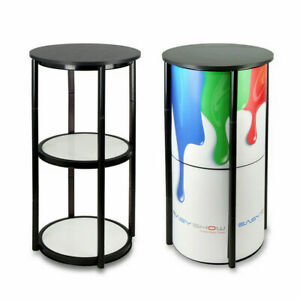 41 7 round Aluminum Spiral Counter Display Case Folding Twister Tower Pvc Panels