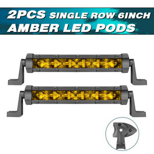 2x 6in Cree Led Light Bar Single Row Spot Flood Offroad Atv Fog Truck Lamps Slim