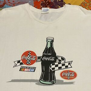 Vintage 90s Coca Cola Racing Family T Shirt Mens Adult XL White NASCAR
