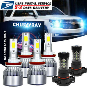 Combo Led Headlight Bulb Hi low Beam Fog Light 8000k For Chevy Tahoe 2015 2019