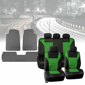 Mesh Car Seat Covers In Green With Gray Floor Mats Heavy Duty Full Set