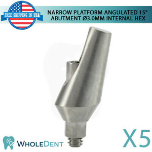 5x Narrow Angulated Aesthetic 15 Abutment Titanium Dental Implant Internal Hex
