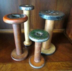 Large 10 Antique Primitive Vtg Wood Industrial Factory Mill Bobbin Lot 4 Spools