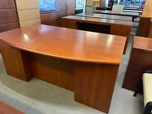 Executive Desk Credenza Set By Ofs Office Furniture In Cherry Finish Wood