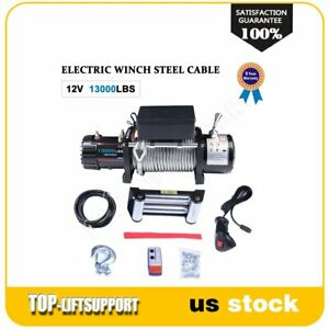 Electric Recovery Winch Towing 12v 13000lbs Wireless Remote For Jeep Commander