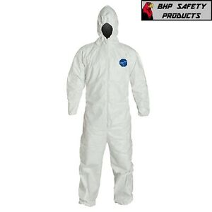 Dupont Ty127s White Tyvek Coverall Bunny Suit Hood W Elastic Wrist Ankles