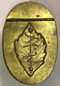 Great 19th Century Antique Tinned Brass Snuff Box With Applied Leaf
