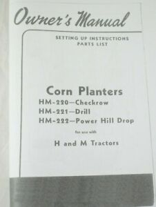 Ih Farmall H M Md Mounted 2 Row Corn Planter Hm 220 Hm 221 Hm 222 Owner s Manual
