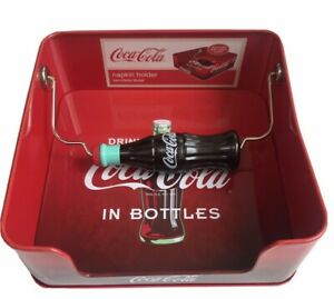 Coca Cola Napkin Holder Tin metal  Dispenser Coke Lovers NEW NWT Tin Box Co.