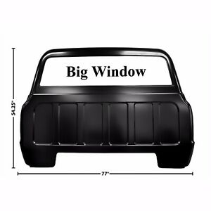 1967 1972 Chevy Pickup Truck Rear Back Outer Cab Panel Big Window No Cargo Lamp