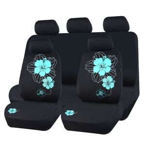 Carpass Mesh Fabric Mint Blue Flower Automotive 11pcs Full Set Car Seat Covers