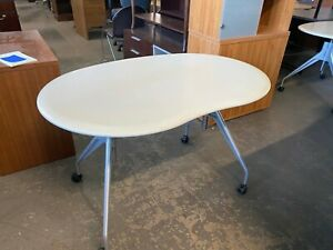 4 Kidney Shaped Mobile Computer training Room Table By Herman Miller