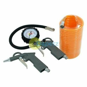 Air Compressor Recoil Hose Line Tool Tools Tyre Inflator Duster Gun 3 Piece Set