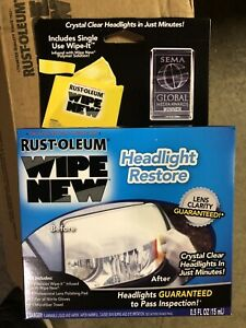 Rust Oleum Wipe New Headlight Lens Wipes Clear System Restore Kit Cleaner