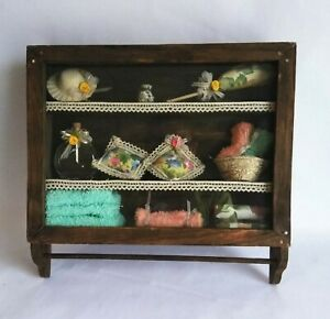 Antique Folk Art Wood Medicine Cabinet Shelf Shadow Box Towel Rack Wood Cabinet