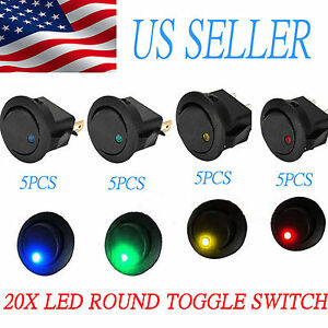 20pcs Led Dot Light 12v Car Auto Boat Round Rocker On Off Toggle Spst Switch