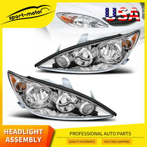 For 2005 2006 Toyota Camry Headlights Headlamp Assembly Replacement Pair 05 06
