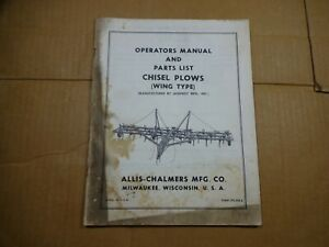 Allis Chalmers Chisel Plow Wing Type Operators Parts Manual Tpl508a Jeoffroy Mfg