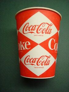 4 COUNT 9OZ COKE COCA COLA DIAMOND LOGO WAX PAPER CUPS 60'S