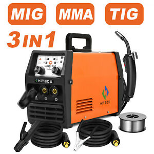 Hitbox 3in1 Mig Welder 220v Lift Tig Arc Inverter Wire Gasless Welding Machine