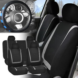 Car Seat Covers Gray Black Full Set For Auto W blue Leather Steering Wheel