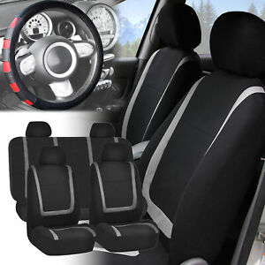 Car Seat Covers Gray Black Full Set For Auto W Red Leather Steering Wheel