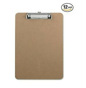 Clipboards Hardboard Flat Clip 9 X 12 5 Inches 12 pack