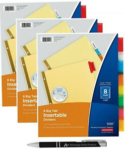 Avery Big Tab Insertable Dividers Buff Paper 8 Multicolor Tabs Pack Of 3 Se