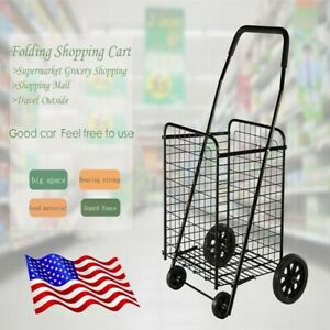 Foldable Portable Large capacity Supermarket Folding Shopping Cart Black