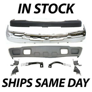 New Chrome Front Bumper Valance Cover 9pc Kit For 2003 2007 Chevy Silverado 2500