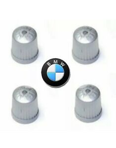 Bmw Tpms Wheel Valve Stem Cap Set Gray X4 Tire Air Fill Screw On Cover New