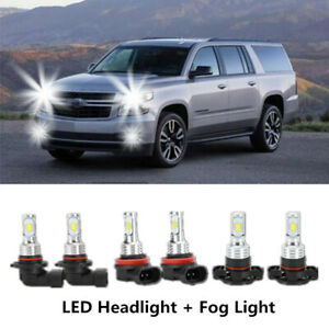 White Combo 9005 H11 5202 Led Headlight fog Bulbs For 07 14 Chevy Suburban Tahoe