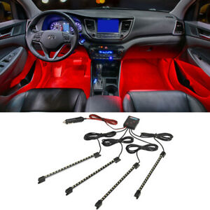 Ledglow 4pc Red Led Interior Car Truck Neon Lights Kit W Fading Strobing Modes
