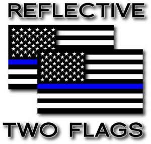 2x Reflective Blue Lives Matter Police Usa Blue Line Decal Stickers Various Size