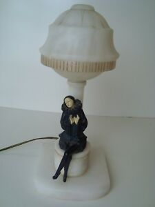 Vintage 1930s Art Deco Carved Alabaster Spelter Harlequin Pierrot Table Lamp