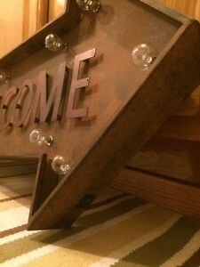 Lighted Welcome Arrow Vintage Style 26x14 Metal Man Cave Garage Home Entrance