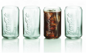 New Set Of 4 Coca-Cola® Can-Shaped Georgia Green Drinking Glasses 12 oz