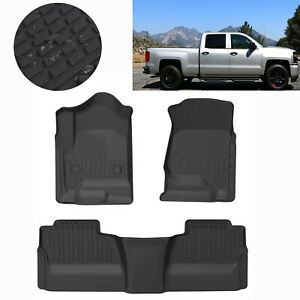 Floor Mats Liners Tpe Black Fits Gmc 14 19 Chevy Silverado Crew Cab All Weather