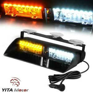 Yitamotor 16 Led White Amber Strobe Flash Light Dash Emergency Warning Lamp 12v