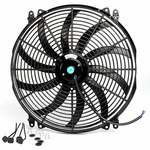 16 12v Slim Thin Fan Push Pull Radiator Cooling Electric Radiator Fan