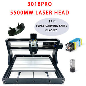 3018 Pro Cnc Router Engraver Diy Pcb Wood Milling Machine 5500mw Laser Head Us