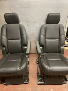 07 14 Escalade Perforated 2nd Row Captain Chair Bucket Seats Power Black Oem