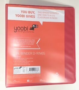 New Yoobi Binder 1 Inch D Ring Holds 220 Pages School office supplies Coral