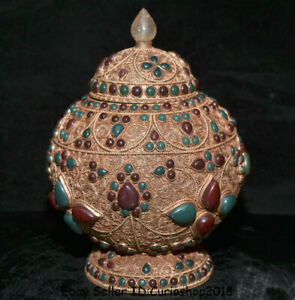 8 4 Rare Old Tibet Nepal Filigree Inlay Crystal Gem Manual Lids Pot Jar Crock