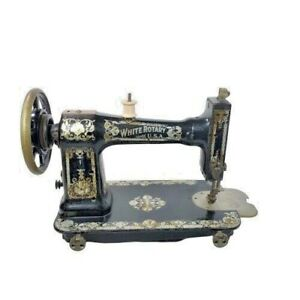 Antique White Rotary Usa Sewing Machine Fr 481779 April 1911 Treadle