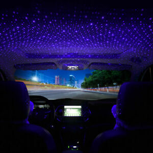 Usb Car Interior Light Roof Atmosphere Starry Sky Lamp Star Led Projector Purple