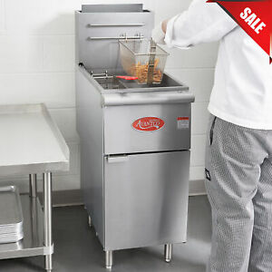 50 Lb Commercial Restaurant Liquid Propane Stainless Steel Floor Deep Fryer New