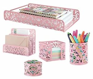 Pink 5 piece Metal Desk Accessories Desk Organizer Desk Decor Set Cute Offic