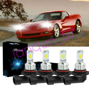 For 1997 2004 Chevy Corvette C5 Projector Combo 9005 9006 Led Headlight Bulbs