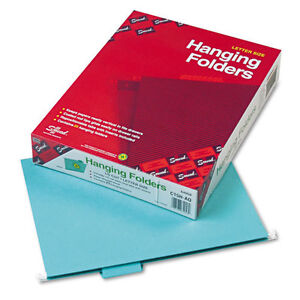 Smead Hanging File Folders 1 5 Tab 11 Point Stock Letter Sz Aqua 25 box